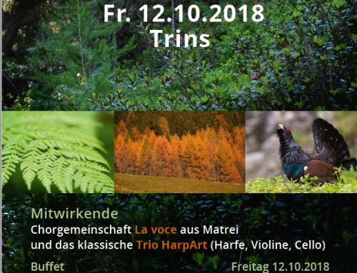 Schutzgebietskonzert in Trins am Freitag, 12.10.2018 im Gemeindesaal Trins
